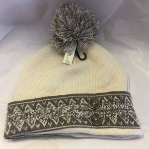 Simple Noelle soft knit beanie pom hat taupe beige